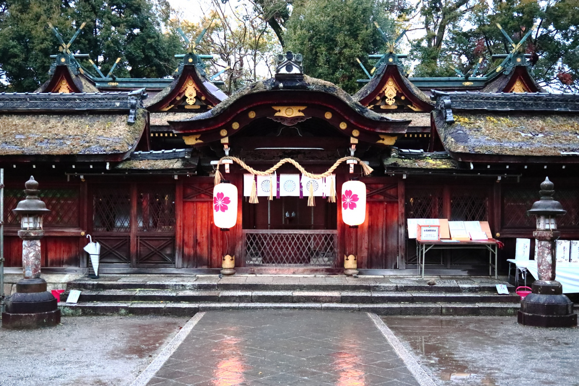 京都・北区 平野神社(ひらのじんじゃ)中門 奥に本殿(国の重要文化財)