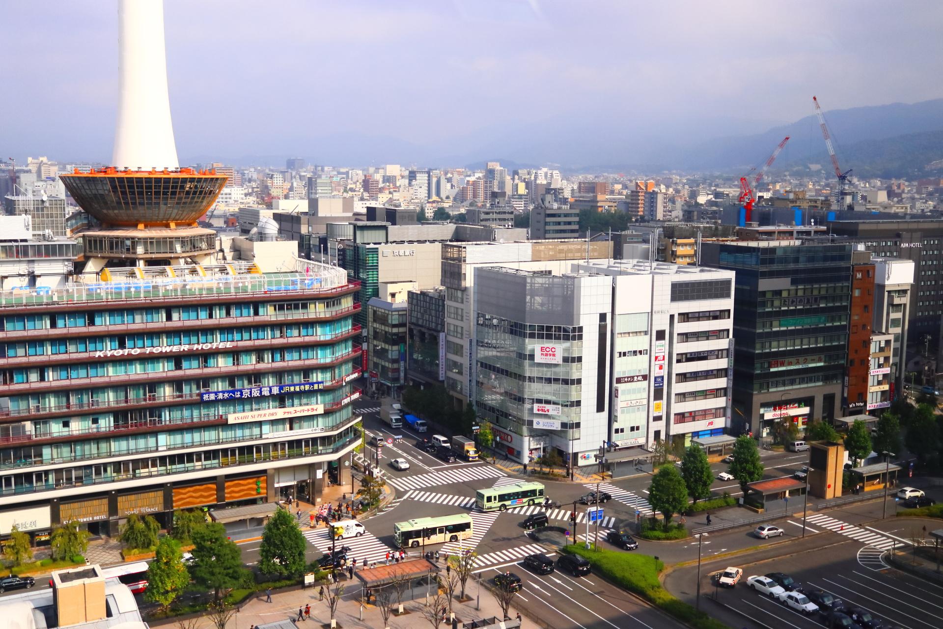 京都駅ビルから見る京都市内
