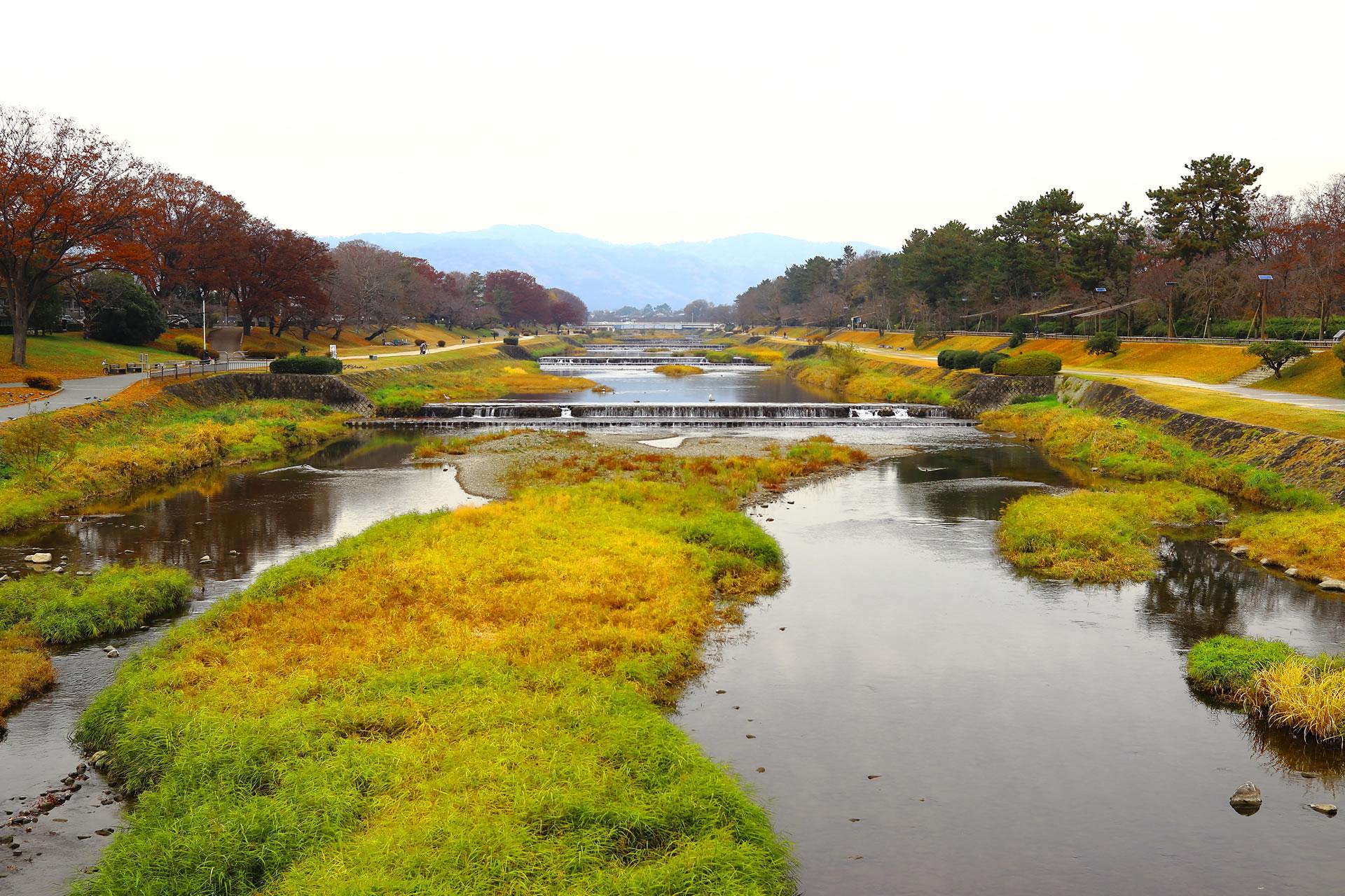 京都・鴨川(賀茂川)北大路橋から(丹波高地・皆子山)